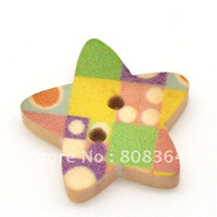 Quilt Accessories Buttons Yes Free Shipping 100 Star Shape 2 Holes Wood Sewing Buttons Scrapbook 18mmx17mm Knopf Bouton(W01524 X 1)