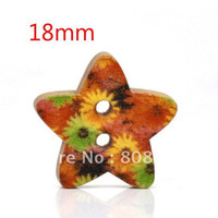 Quilt Accessories Buttons Yes Free Shipping 100 Pcs Star Shape 2 Holes Wood Sewing Buttons 18x17mm Knopf Boutons(W01433 X 1)