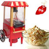 Wholesale 1Pcs DIY mini carriage shape nostalgic hot air popcorn machine poper pop corn maker with EU plug red or pink color v v