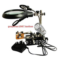 Wholesale Magnifier Electric iron welding tool X7 X10X Power V V LED BGA workbench Phone motherboard repair Fixture D