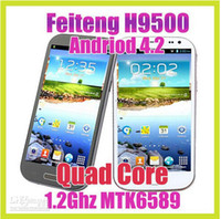 WCDMA Thai Android Wholesale - DHL free Feiteng H9500 S4 5.0 Inch IPS HD Screen 1280*720 Android 4.2 Smart Phone MTK6589 Quad Core 1GB RAM 4G ROM 13MP Camera +