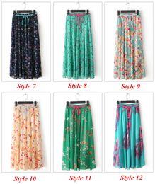 Wholesale 12 Color Women s Summer Autumn Print Fashion Bohemia Beach Skirts Chiffon Long Women Skirt Free Size