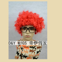 Wholesale Wholesaler Red Short Culy Party Cosplay Wig pieces Cheap Halloween party hair Afro style USD including shipping
