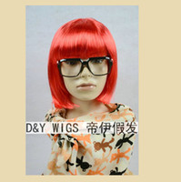 Red halloween wholesaler - Wholesaler Women sBOB red short party cosplay wig Bang to eyes in a line Cheap Halloween cos hair