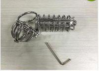 Venta al por mayor - los dispositivos masculinos del BOUNDAGE de la castidad del acero inoxidable 7 recogen la bola recta BDSM caliente A070 de la jaula