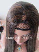 Brazilian Hair Dark Brown Straight Machine Made U Part Human Hair Cheap Wig 18inch, Color #2, Perm Yaki Straight Wigs For Black Women