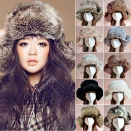 Wholesale 2014 New Fashion Style Ladies Women Mens Russian Cossack Style Faux Fur Winter Warm Ushanka Trapper Hat Colors