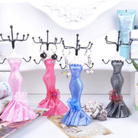 Wholesale Small Doll Display Rack Dot Dress Mannequin Necklace Earring Ring Holder Jewelry Stand