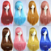 Red Straight 100% High Temperature Fiber Free Shipping women 80 cm Black Blue Brown Pink Red Yellow white Blonde straight heat resistant anime cosplay wig party wigs