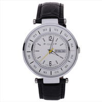 Men's Complete Calendar Round 2014NEW BIG DIAL CLOCK HOURS Fashion Business Quartz Wristwatches Man's Watch 24Hours Movement From Japan Leather Strap Watches