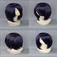 Burgundy Straight 100% High Temperature Fiber free shipping New women japanese short hair game characters wig violet blue cosplay anime wig for women