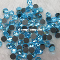Wholesale SS16 Bag aquamarine DMC HotFix FlatBack Rhinestones trim strass DIY iron on glass Hot Fix crystal stone