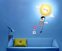 Wholesale DIY Kid s Bedroom Wallpaper Stickers Wall Lamp Cute D Removable Home Decor Night Light