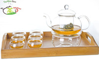 Wholesale 9in1 Kung fu Tea Set B fl oz ml Pyrex Glass Flower Teapot Coffee Pot Artistic Lid Double Wall Cup Mug Warmer Handle Bamboo Tray
