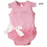 newborn clothing - Baby Girl Pink Bodysuit Princess kid lace newborn clothes D05