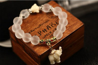 Wholesale Moonlight Natural Polished Crystal Bracelets Lovely Baby Jade Elephant Pendant