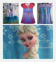 TuTu brand clothes cheap - Frozen Dress Printed Elsa Anna Girl short sleeve Nightie Dress Nightwear Baby Dress Kids Loved Clothes Cheap Brand Dress