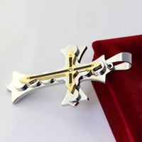 Celtic large cross jewelry - Cool Men s Fashion Jewelry Large heavy weight tone Stainless Steel Cross Faith Pendant Mosaic crystal