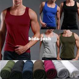 Discount wholesale shirts for summer Wholesale-mens bodybuilding tank,sleeveless singlet and undershirt in summer,big muscle t-shirt for men, cotton vest