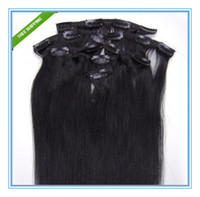 Wholesale Full head quot clip in on human hair extensions brazilian virgin remy hair weaves clip in hair