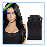 Wholesale Full head quot clip in on human hair extensions indian virgin remy hair weaves clip in hair