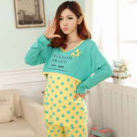 Full Round Neck Cotton Wholesale-Free shipping New Fashion Spring and Autumn Long sleeve cotton maternity dress Mum Wear coat and trousers Polka Dot letter suit