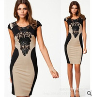 Wholesale 2014 Women New Arrival Clothes Sexy Fashion Embroidery Patchwork Flower Neck Sexy Slimming Sheath One piece Dress Made In China
