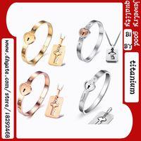 Wholesale Titanium steel necklace bracelet jewelry sets rose gold fashion lovers bracelet necklaces birthday present