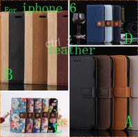 Wholesale 4 style leather case For iphone Air G iphone6 crazy horse flower jean wood Flip wallet leather case cover Stand Holder Card Slots