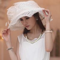 wide brim hats - Women Organza Hat Girl Hat White Flower Wide Brim Floppy Ruffle Wave Brim Floppy Ruffle Organza Wide Brim