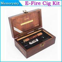 Single   High Quality E-fire Wooden e cig mod Variable Voltage X fire Vaporizer pen efire 900mAh Battery Gift Box Kit Electronic Cigarette 002344