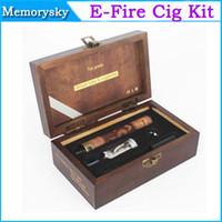 achat en gros de x feu e cig-Électronique de grande Qualité-le-feu de Bois e cig mod à Voltage Variable X de feu Vaporisateur pen efire 900mAh Batterie de Boîte-Cadeau Kit de Cigarette Électronique 002344