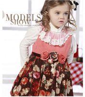 TuTu Winter A-Line Best velvet thick Patterned mosaic Fall and winter dress Sleeveless Designer handmade Rose Korean children clothing Princess dress D025