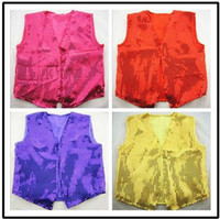 children tank tops - 2014 Bling Kids Clothing Sequin Colorful Waistcoat Children Boys Girls Performance Tank Tops Childs Dancing Suit Outwear H0923