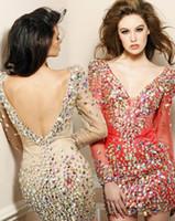 Wholesale 2014 Stunning Short Mini Prom Dresses Long Sleeves V neck Beaded Rhinestones Shining Bling V Back Tulle Cocktail Dresses Homecoming Dresses