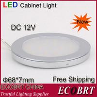 2W Yes LED SMD3528 12V Kitchen LED Under Cabinet Light Round Flat Surface 12v Downlight 2W aluminum housing 6pcs lot Free Shipping