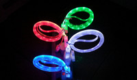 Flashing Noodle cable adapter rubber cables - New Visible LED Micro USB Flat Charger Cable for samsung S3 S4 cable Flashing Noodle Rubber Cords m ft Sync Data Charging Adapter cable