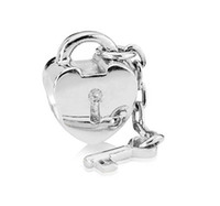 Wholesale 925 Sterling Silver Heart Lock and Key Bead For Pandora