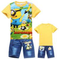 Boy Summer Short New Despicable Me 2 Minions 2014 Baby Kids Baby Clothing Boys Sets Children Tops + Jeans Cartoon Summer Unisex Set 2-7 Years