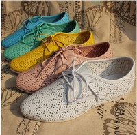 Wholesale 2014 new Autumn women s genuine leather cut out lace up shoes five candy color flat pointed toe casual shoes