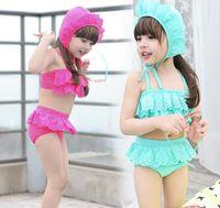 Girl Bikinis 2-7T new baby girls cute swimwear children Bikini + pool swim ruffles skirt + lace hat cap 3pcs set kids swimsuit bathing suit outfits 2colors