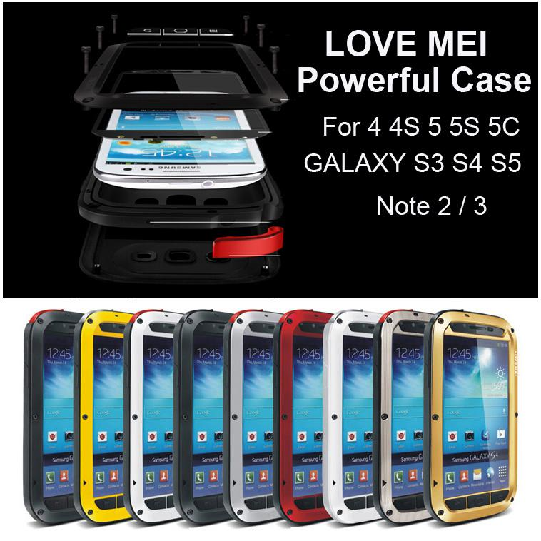 LOVE MEI Powerful Metal Case for IPhone 4 4S 5 5S 5C ... Iphone 5c White With Black Case