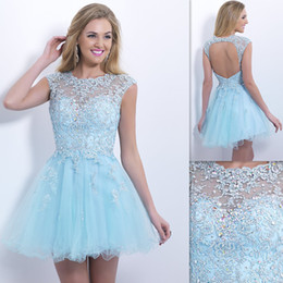 Wholesale Designer Sheer Homecoming Dresses Backless Sky Blue Tulle Appliques Beaded Short A line Custom Made Prom Gowns Beach