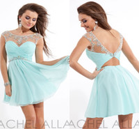 Wholesale Short Blue homecoming dresses charming Light Blue chiffon A Line prom dresses sheer beaded New Scoop Capped sleeve cocktail dress WD638
