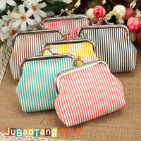 Wholesale Vintage Candy colored stripes PU leather coin purse key holder wallet hasp small gifts bag clutch handbag