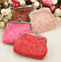 mixed style bear key holder - lucky bear Love five pointed star cartoon PU leather coin purse key holder wallet hasp small gifts bag clutch handbag
