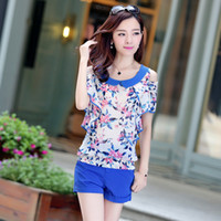 Cheap dresses New summer flouncing round neck short sleeve casual loose pants suit for women