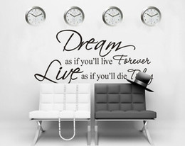 DIY Mural Dream As If You Will Live Forever PVC Letter Word Removable Vinyl Art Wall Sticker Wallpaper Decal Home Decoration 80X40cm
