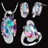 Bracelet,Earrings & Necklace Celtic Women's 925 sterling Silver Platinum plated Jewelry Set Wedding Love Oval colors CZ Diamond Stone CZ Zircon Ring Necklace Earrings Finely Cut