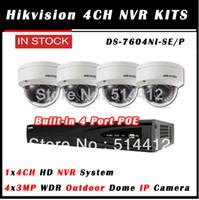 al por mayor hikvision 4 canales kit-Al por mayor-caliente Hikvision 4ch kits IP NVR con 4 puertos POE + 3MP al aire libre HD WDR IR domo IP kit de la cámara de la cámara de interior del IP